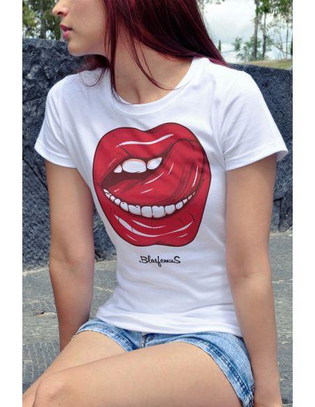 T-shirt donna - Bocca lingua red passion blasfemus