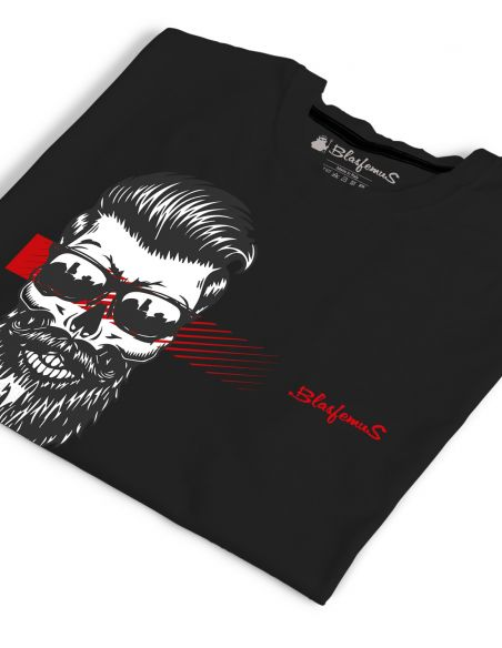 T-shirt uomo nera - Teschio con barba e occhiali - Blasfemus