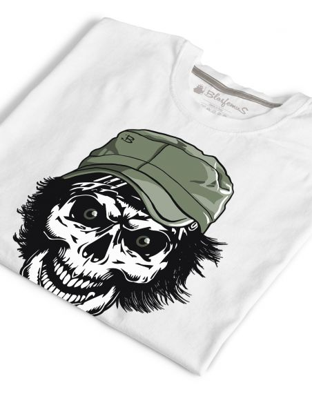 T-shirt bianca uomo - Teschio con cappello - Blasfemus