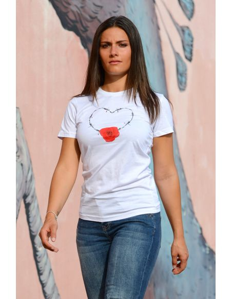 T-shirt donna - Cuore e rosa centrale Blasfemus