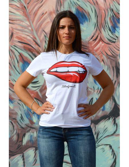 T-shirt donna - Bocca red passion - Blasfemus