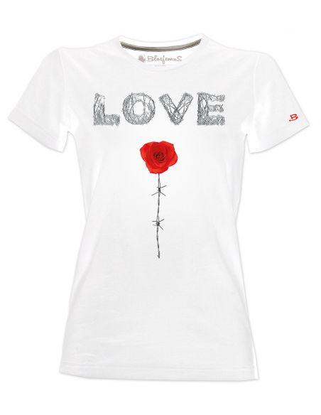 T-shirt donna - Love rosa e filo spinato - Blasfemus