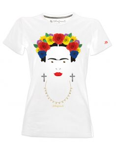 T-Shirt donna Frida Kahlo Ufficiale con rose colorate e collana - Blasfemus