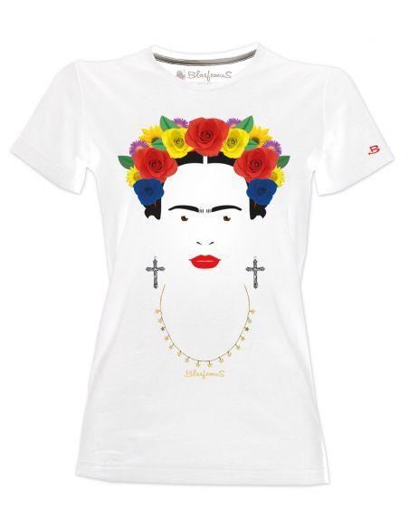 T-shirt donna - Frida Khalo con rose e orecchini - Blasfemus