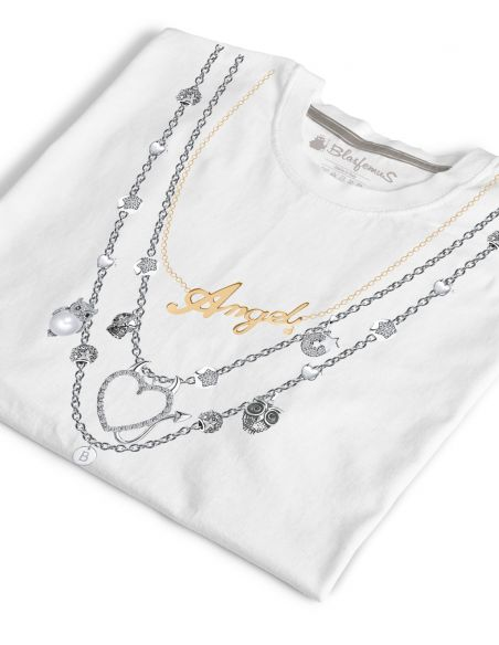 T-shirt donna bianca - Collana gioielli Angel - Blasfemus