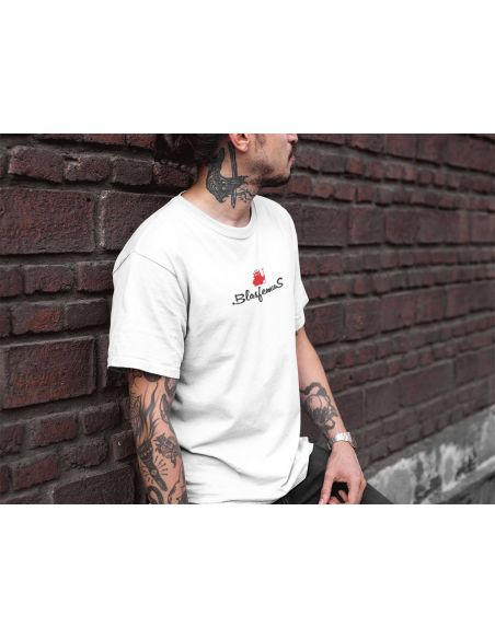 T-shirt uomo bianca - Logo centrale - Blasfemus