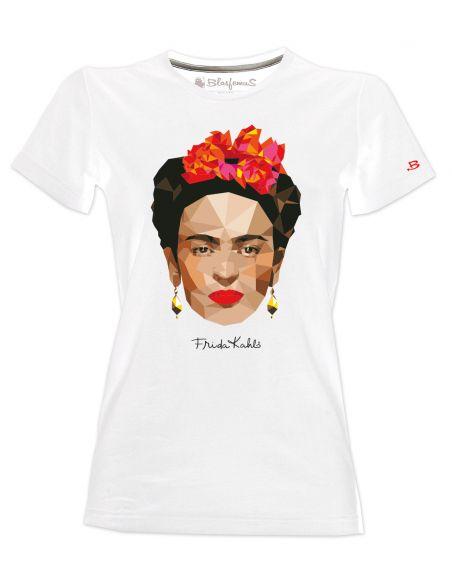 T-shirt donna bianca - Frida Khalo Ufficiale stile poligonale - Blasfemus