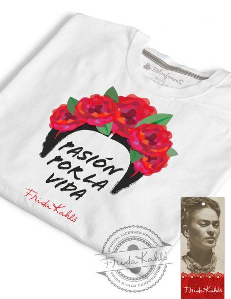 T-shirt donna bianca - Frida Khalo Ufficiale scritta Pasión por la vida - Blasfemus