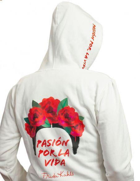 Felpa con cappuccio donna - Frida Kahlo Ufficiale bianca