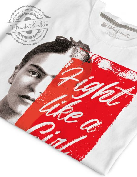 T-shirt donna - Frida Khalo Ufficiale scritta Fight like a Girl - Blasfemus
