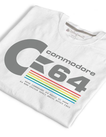 T-Shirt Uomo Commodore 64 Anni 80 Vintage Nerd - bianca