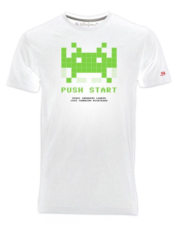 T-Shirt Uomo Space Invaders anni 80 -bianca - Vintage Nerd - Blasfemus