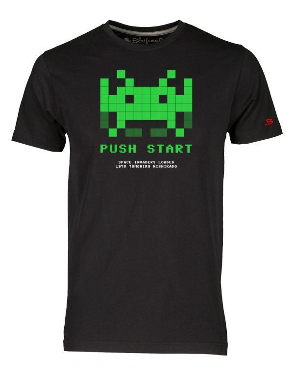 T-Shirt Uomo Space Invaders anni 80 -nera - Vintage Nerd - Blasfemus