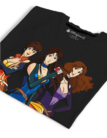 T-shirt donna Occhi di gatto cartoni animati anni 80 - nera - Blasfemus