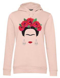 Blasfemus Felpa Cappuccio Donna Frida Kahlo Ufficiale Rose Rosse e Orecchini - Rosa