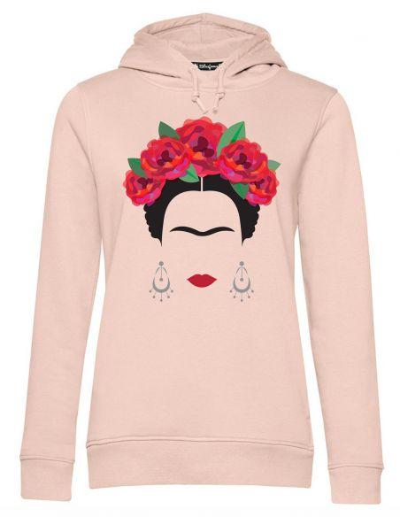 Blasfemus Felpa Cappuccio Donna Frida Kahlo Ufficiale Rose Rosse e Orecchini